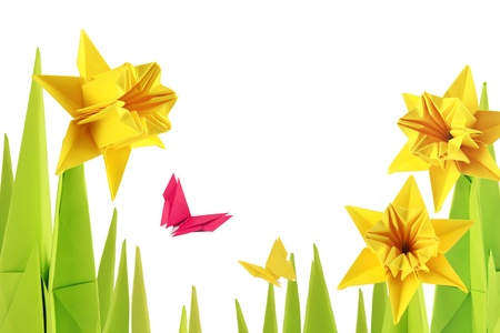 Origami spring narcissus bottom on a white background Stock Photo - 18152507