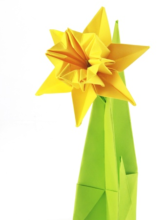 Origami yellow narcissus of paper on a white background Stock Photo - 18152496