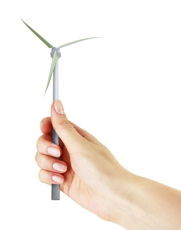 Windmill in the hand on a white background Stock Photo - 18152392