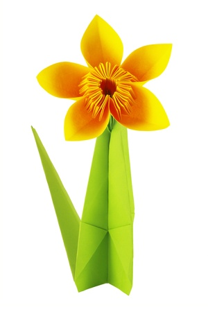 Origami yellow flower of paper on a white background Stock Photo - 18419691