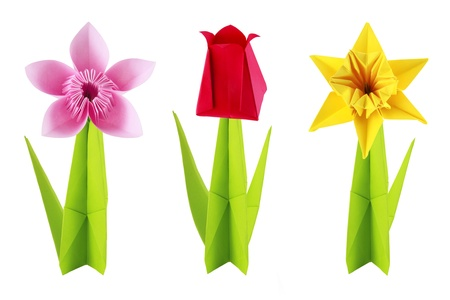 Origami spring flowers set on a white background Stock Photo - 18419689