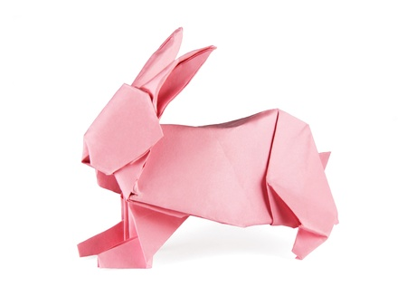 Easter origami rabbit on a white background