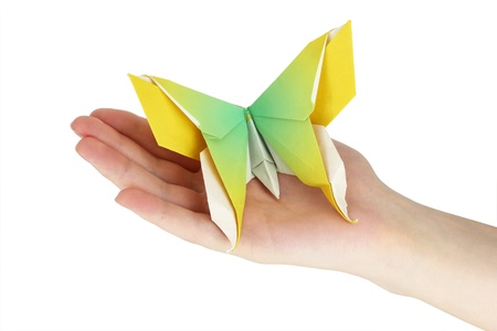 Origami butterfly in the human hand Standard-Bild