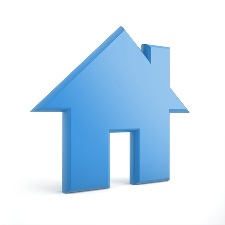 3d blue home icon on a white background Stock Photo - 18776293