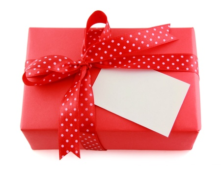 Red present box whith ribbon bow on a white background Stock Photo - 18776300