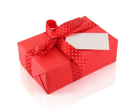 Red present box whith ribbon bow on a white background Stock Photo - 19333514