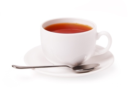 White cup of tea on a white background Stock Photo - 19686901
