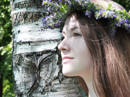 Beautyful women in wreath near a birch tree Stock Photo - 19754098