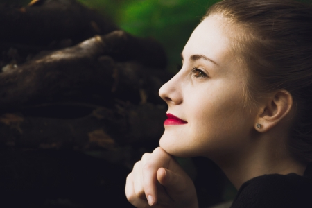 beautyfull fastion girl with red lips in forest background Stock Photo - 19856543