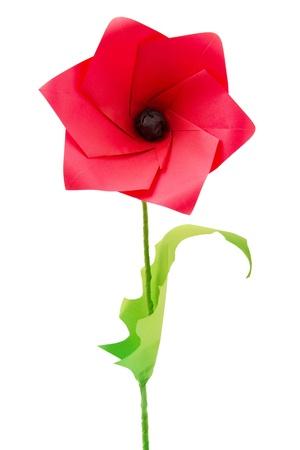 bakground: Origami poppy flower on a white bakground