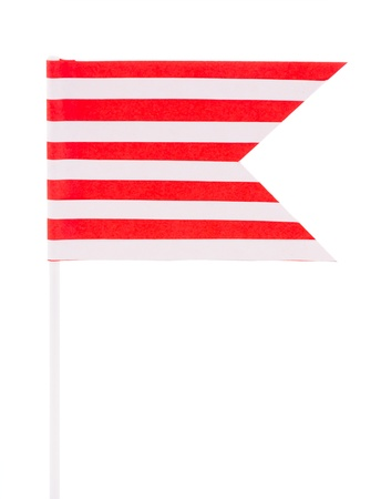 Striped red and white paper flag on a white background Stock Photo - 20270547