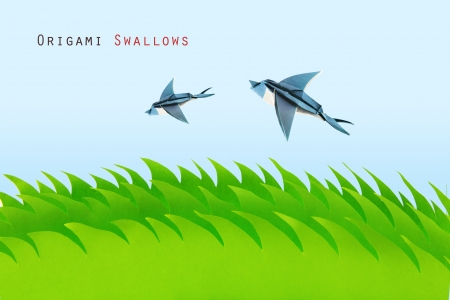 Green grass field with origami swallows on a sky background Stock Photo - 20276609