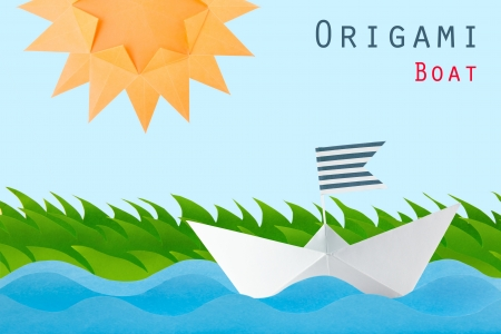 Paper origami white boat on the wave , grass and sun on a white background Stock Photo - 20452159