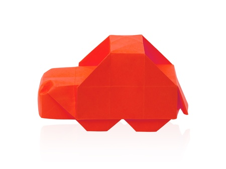 Origami red isolated cartoon car on a white background Stock Photo