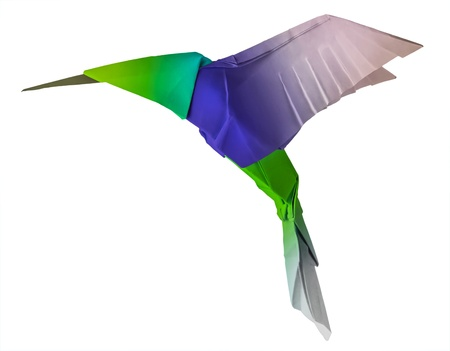 small paper: Origami flying hummingbird bird on a whute background