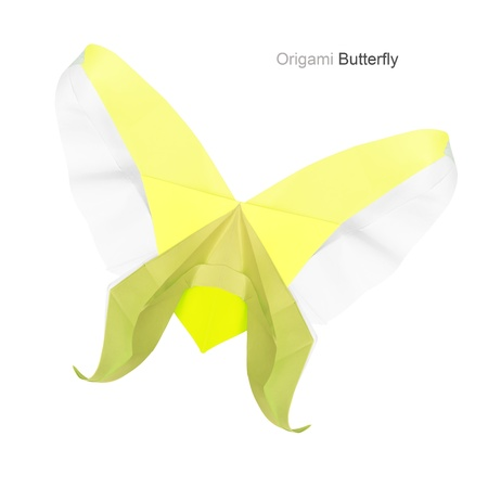 lemony: Paper origami yellow lemony isolated butterfly on a white background