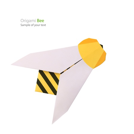flying object: Origami paper bee on a white background