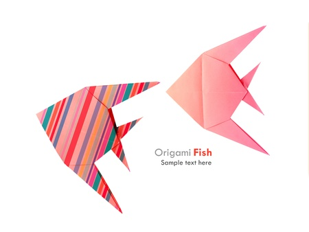 �rigami pink and striped tropical fish set on the white background Stock Photo - 22012262