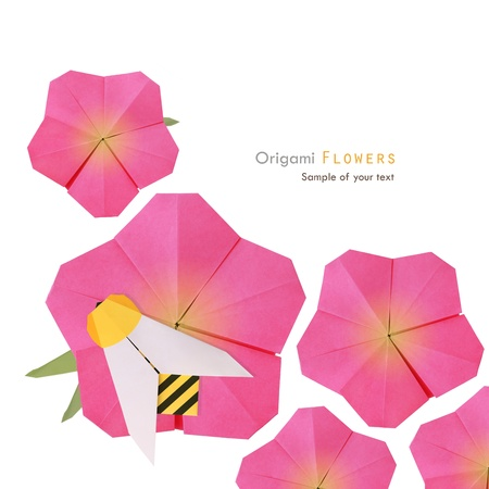Origami pink summer flowers with noney bee on a white background photo