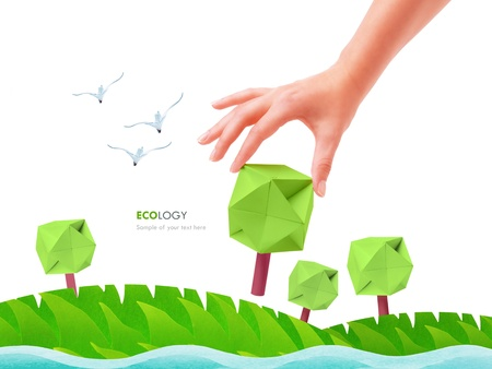 Green tree  in the hand ecology concept plant photo