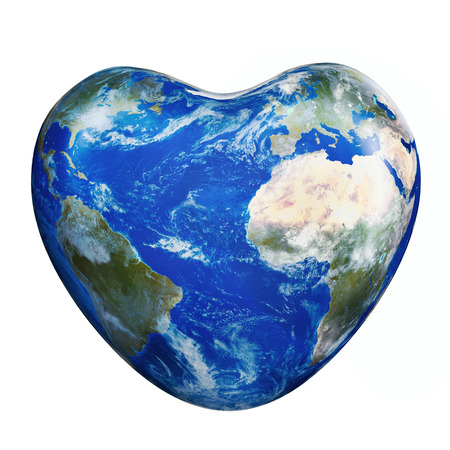 cartoon globe: Earth America and Europe Africa part green planet in heart form on a white background.