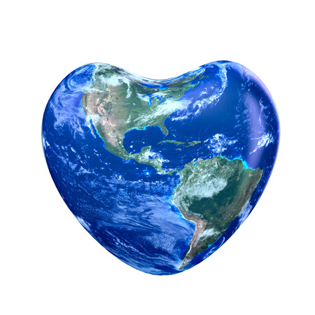 Earth America part green planet in heart  form on a white background. Banque d'images