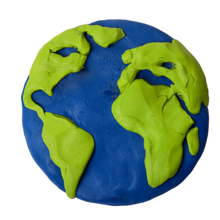 child's play clay: Plasticine planet earth on a white background Stock Photo