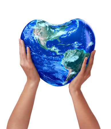 3d earth heart in hands on a white background photo