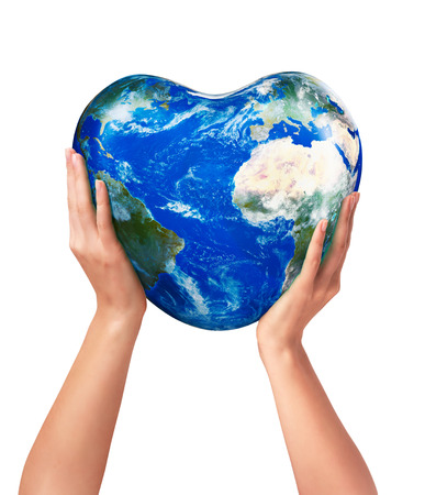 3d earth America Europe Africa part heart in hands on a white background photo