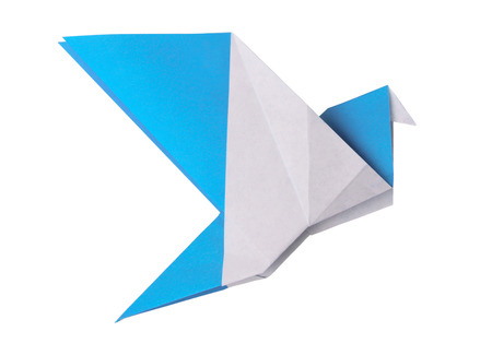 Origami blue paper twitter bird on a white background Stock Photo
