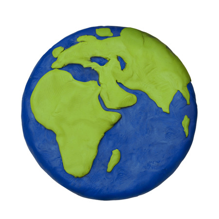 Plasticine child hand made planet earth Europe Africa part on a white background