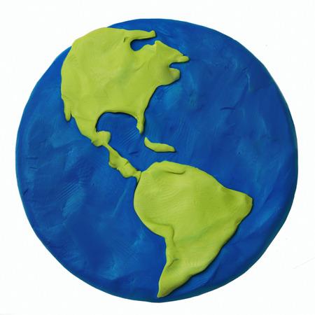 Plasticine planète Terre Amérique USA partie sur un fond blanc Banque d'images