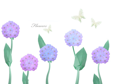 Paper origami violet flowers hydrangea and butterfly on a white  photo
