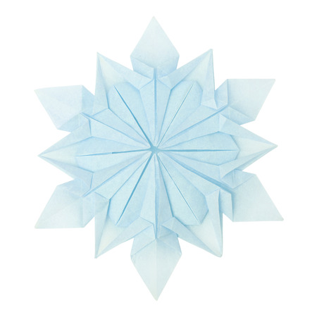 fragility: Origami paper fragility christmas winter cold blue snowflake on a white background