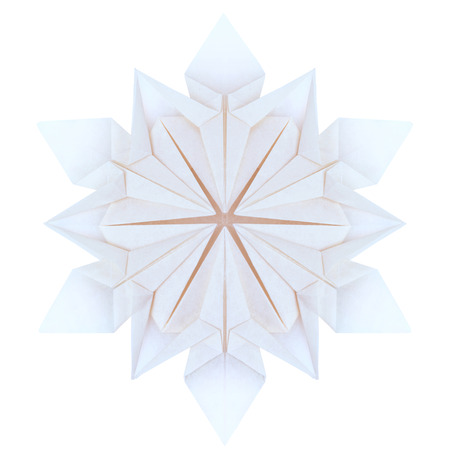 fragility: Origami paper fragility christmas winter cold blue snowflakes on a white background
