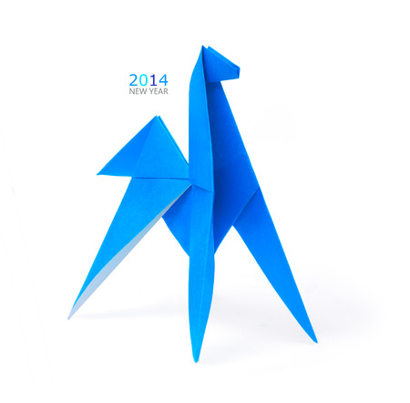 Origami blue horse paper simbol on a white  background Stock Photo - 24516540