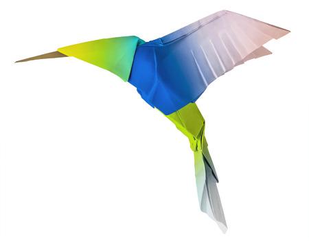 折り紙 whute 背景にハミング鳥コリブリ鳥フライング