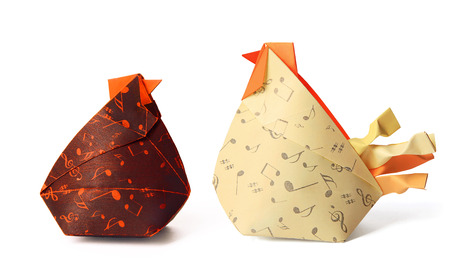 red hen: Origami paper red hen and rooster family on a white