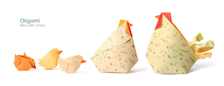 origami bird: Care hen with chicks origami on white  Stock Photo