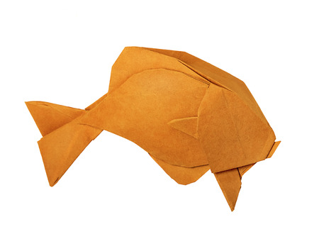 Оrigami golden vintage paper fish on the white background photo