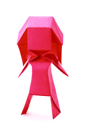 Origami pink geometric concept paper fun girl on a white background