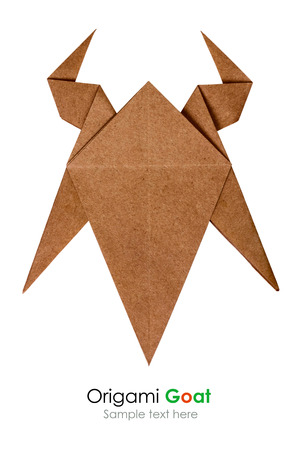 Origami Brown Paper Wooden Goat With Horn Chinese Sing 2015 New
