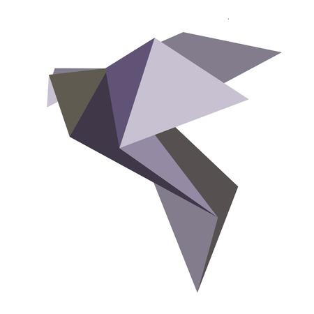 Vector origami geometrycznej gołębie na białym tle