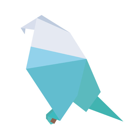 attentive: Vector origami paper geometric blue parrot on white background