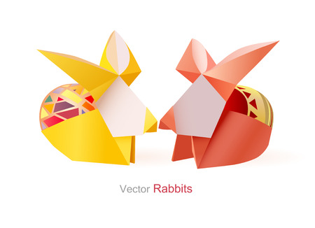 buny: Vector easter handmade bunny rabbits with painted egg on a white background Illustration