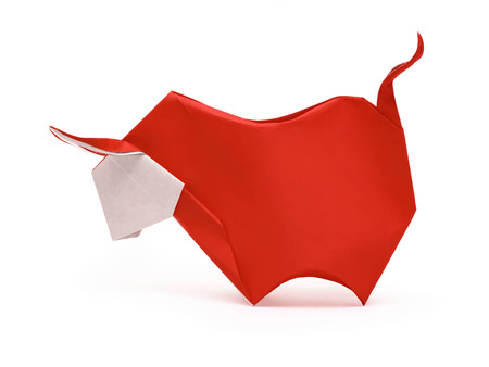 bull cartoon: Origami red horned furious bull on a white background