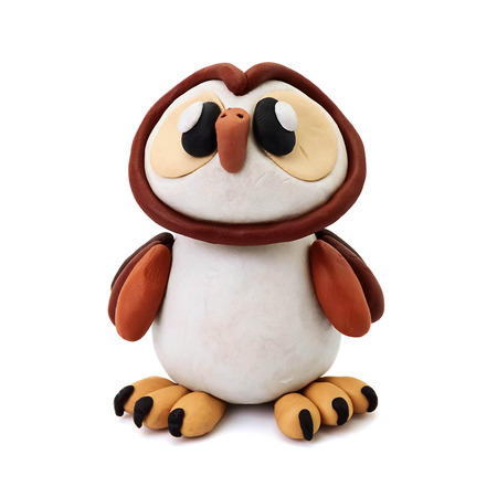 childs play clay: Plasticine cartoon education isolated owl  on a white background