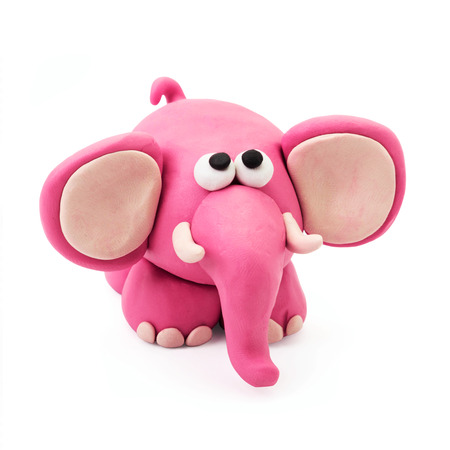 child's play clay: Plasticine cartoon pink fun elephant on a white background