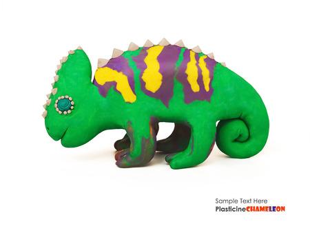 irritation: Plasticine cartoon chameleon on a white background