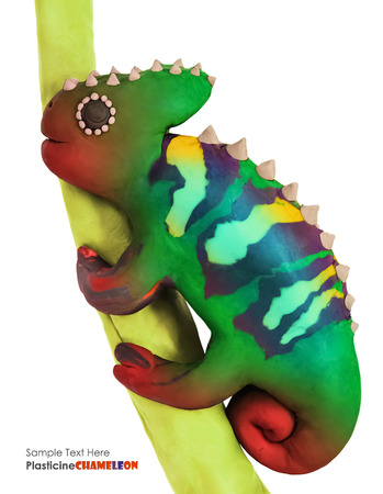 ugliness: Plasticine cartoon chameleon on a branch on a white background